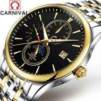 Carnival Mens Moon phases Tourbillon Automatic mechanical Watches Men