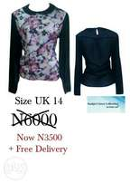 Collared Floral Chiffon Blouse. UK 14 /Large. Free Delivery