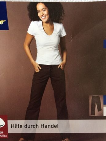 1e3134f479a379 Tchibo spodnie damskie 36 len bawełna brązowe podwijane nogawki Hornówek -  image 1