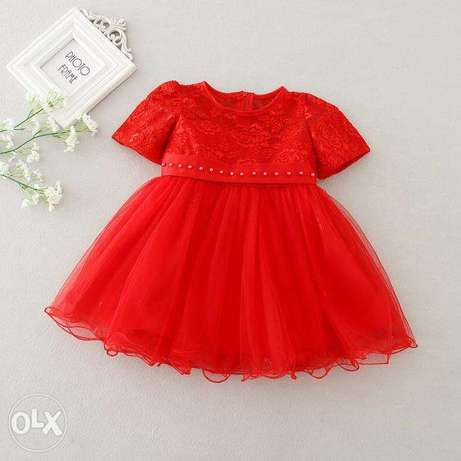 Quality Baby girls clothes plain red color gowns Idimu - image 4