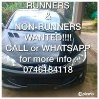 Runners and non runners wanted urgently..