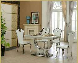 Quality cream colour marble dinining by six with six chairs
