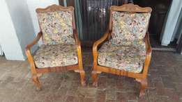 Pair Antique Teak Armchairs