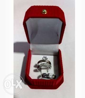 Couple's Set Of Wedding And Engagement Ring-Silver Lagos Island East - image 1