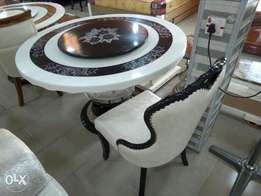 Round Marble top dinning table with 6 solid chairs