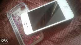 Clean used white iphone 4s with jelly rubber case