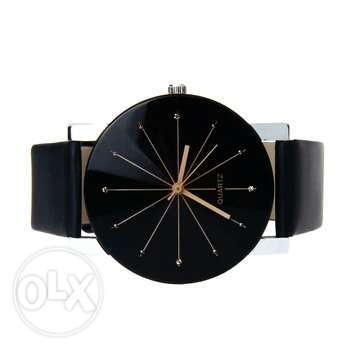 Black Genuine leather quartz wristwatch Ojo - image 4