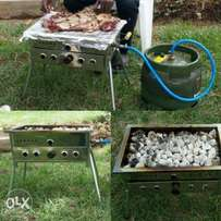 Grill with volcanic lava rocks