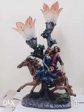 large resin horse/lover rider lamp