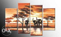 Wall art hand painted sunset scene artworks