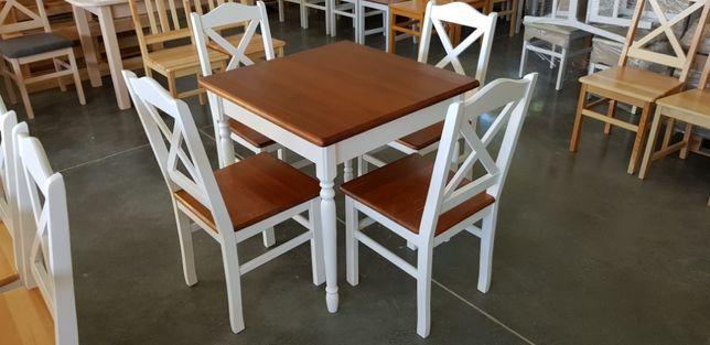 Zestaw Prowansalski Stół 4 Krzesła Krzyż Do Kuchni