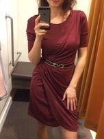 80aec5ff6b Bordowa elegancka sukienka z UK bordo marszczenia