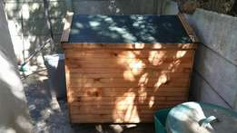 Dog house bed and feeder