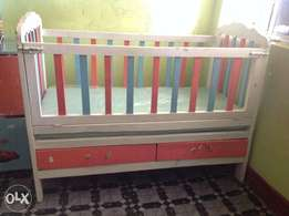 Wooden Baby bed with Matress