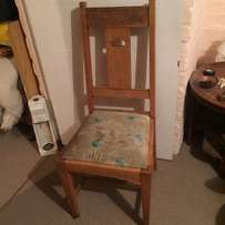 Heart upright wooden chair with light blue & beige seat - antique