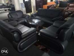 Quality Black leather chair by seven seats