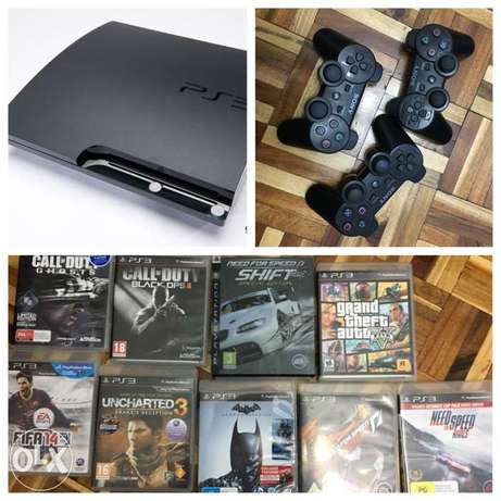 PS3 500gb with 9 games and 3 controllers Parklands - image 1