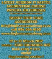 Latest Pastel Accounting version 17 courses offered
