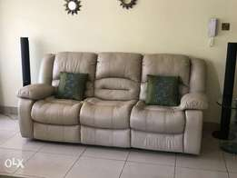 7 Seater Leather Sofa Set with Recliner