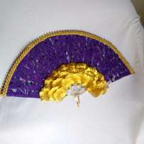 "Brides n Queens ""Royal Glam"" Purple Gold Bridal Hand-Fan"