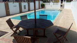 Executive 3 bedroom fully furnished apartment with pool for long let