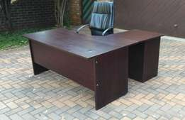 Desk Office L shaped with drawers Mahogany