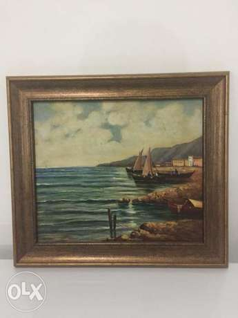 antique mid century europeen oil on panel painting