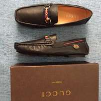 Gucci black leather loafers shoe for men