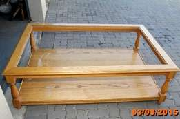 Solid Oak Coffee table with small side table for sale