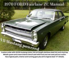 1970 Ford Fairlane ZC, V8 African/Oz muscle car rare manual & original