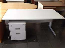 Grey desk with mobile drawers