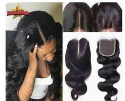 100% human hair closures in stock for sale, with varieties of inches,