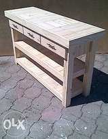 Food Server Farmhouse series 1500 with 3 drawers and 2 shelves - Raw