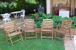 Wooden patio chairs x 4. R150 each or R400 for all.