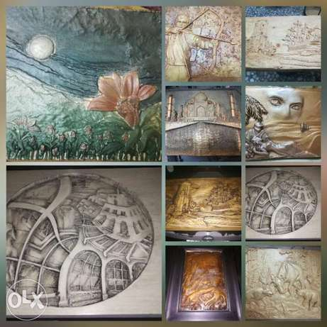 Carved wood pannel art