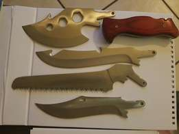 Knife set. Survival, hunting interchangeable blades. Pure Stainless