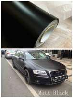 Matte black car vinyl wrap