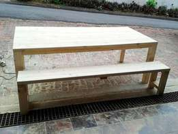 Rustic patio tables made to order! Unstained, stained or painted.