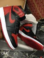 Red and black Nike sneakers