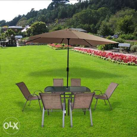 ضمان السعر Lyon Garden outdoor Patio set 8 with Umbrella مجموعات