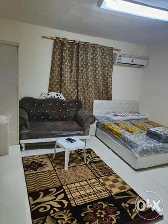 a furnished studio for family rent with a kitchen, a bathroom and a se