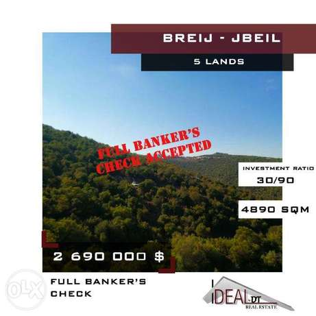 Hot Deal !! 5 lands for sale located in Breij, 4890 SQM. REF#CD10026