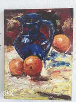 Still life painting (a jar and some oranges). Style epasto