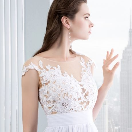 8cdd7ec21231b2 Suknia ślubna sukienka linia-A koronka 34 36 38, 40 L 42 XL 44 XXL ...