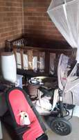 Pram, cot, equipment, chair for sale