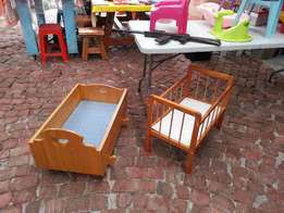 2 Large wooden cots for dolls.
