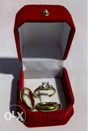 Gold Plated Set of Couple's Wedding Ring Lagos - image 1