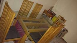 Glass Dining Room Table Set with 6x Chairs