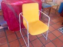 Yellow chair - metal frame with yellow cushion