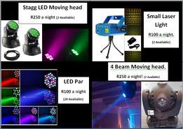 Dj, party and disco lights for hire.